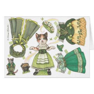 Carte du jour de St Patrick de papier de poupée de