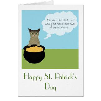 Carte du jour de St Patrick drôle avec le chat