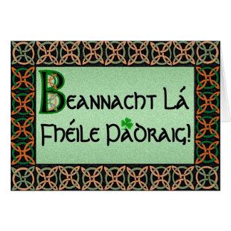 Carte du jour de St Patrick gaélique irlandais