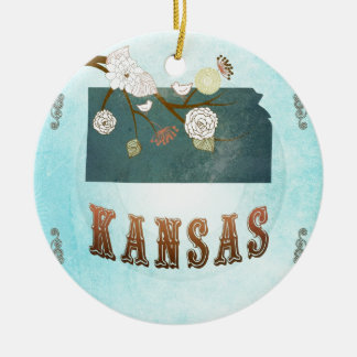 Carte du Kansas avec de beaux oiseaux Ornement