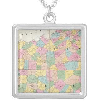 Carte du Kentucky et du Tennessee Pendentif Carré