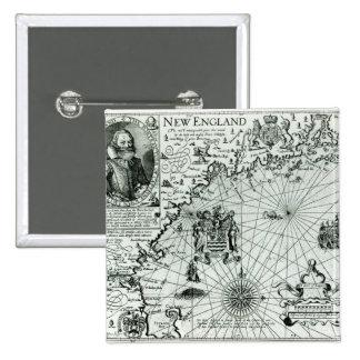 Carte du littoral de la Nouvelle Angleterre Pin's