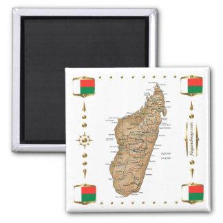 Carte du Madagascar + Aimant de drapeaux