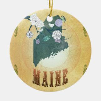 Carte du Maine avec de beaux oiseaux Décoration De Noël