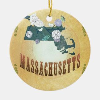 Carte du Massachusetts avec de beaux oiseaux Ornement Rond En Céramique
