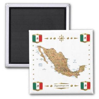 Carte du Mexique + Aimant de drapeaux
