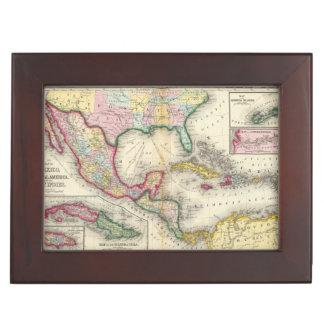 Carte du Mexique, Amérique Centrale Boîte À Souvenirs