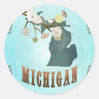 Carte du Michigan avec de beaux oiseaux Adhésif Rond