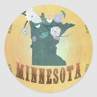 Carte du Minnesota avec de beaux oiseaux Sticker Rond