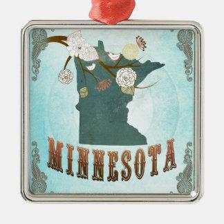 Carte du Minnesota avec de beaux oiseaux Ornement Carré Argenté