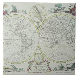 Carte du monde 18 grand carreau carré
