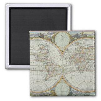 Carte du monde 21 magnet carré