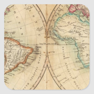 Carte du monde 3 sticker carré