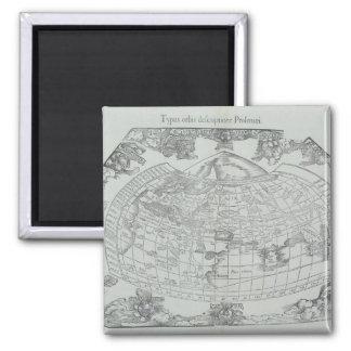 Carte du monde 4 magnet carré