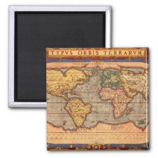 Carte du monde à partir de 1601 magnet carré