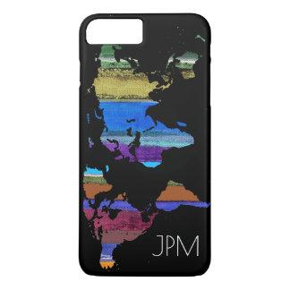 carte du monde avec des rayures de couleur coque iPhone 7 plus