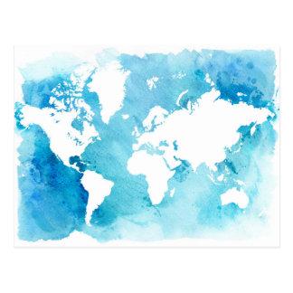 Carte du monde dans des bleus d'aquarelle