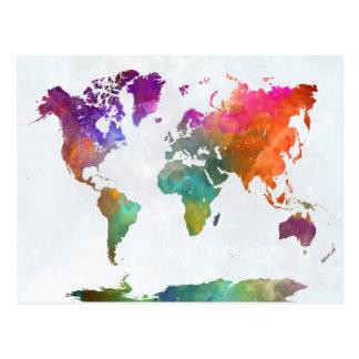 Carte du monde dans l'aquarelle