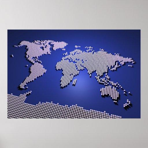 carte du monde dans le bleu affiches zazzle. Black Bedroom Furniture Sets. Home Design Ideas