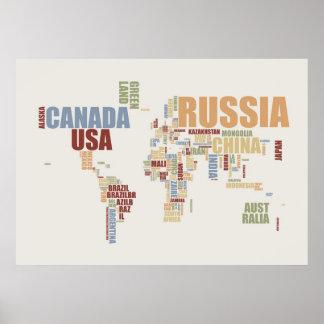 Carte du monde dans les mots poster