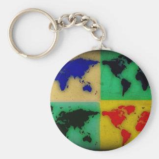 carte du monde de couleur d'art de bruit porte-clé rond