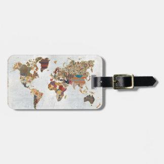 Carte du monde de motif étiquettes bagages