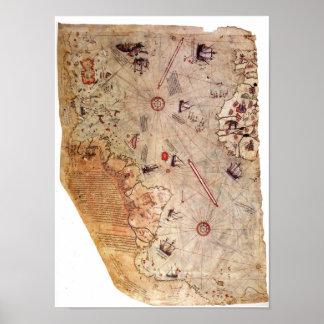 Carte du monde de Piri Reis Posters