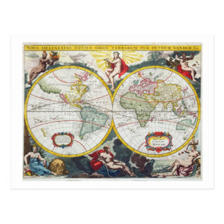 Carte du monde, début du 18ème siècle (gravure cartes postales