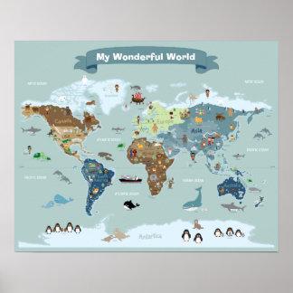 Carte du monde d'enfants avec des images et des poster