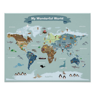 Carte du monde d'enfants avec des images et des posters