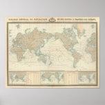 Carte du monde des canaux d'expédition posters