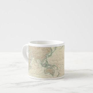 Carte du monde des canaux d'expédition tasse expresso