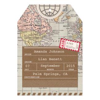 Carte du monde d'étiquette de bagage de mariage carton d'invitation  12,7 cm x 17,78 cm