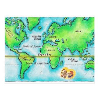 Carte du monde et de l'équateur