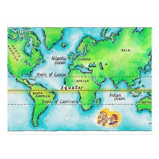 Carte Du Monde Avec Equateur.Carte Du Monde Et De L Equateur