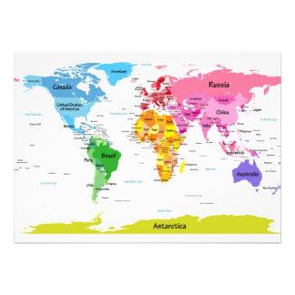 Carte du monde invitation personnalisée