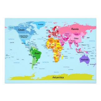 Carte du monde faire-part