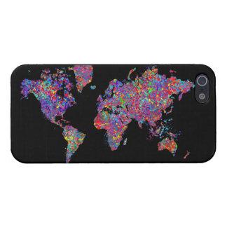 Carte du monde, peinture d'action étuis iPhone 5