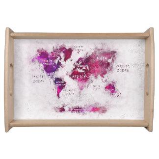 carte du monde plateaux de service