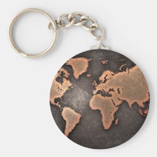Carte du monde porte-clé rond
