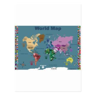 Carte du monde pour des enfants avec des drapeaux carte postale