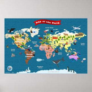 Carte du monde pour des enfants - les explorons posters
