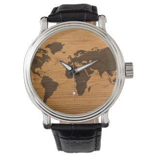 Carte du monde sur le grain en bois montres bracelet