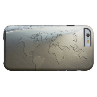 Carte du monde sur le sable coque iPhone 6 tough