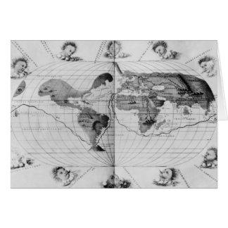 Carte du monde traçant le voyage du monde de