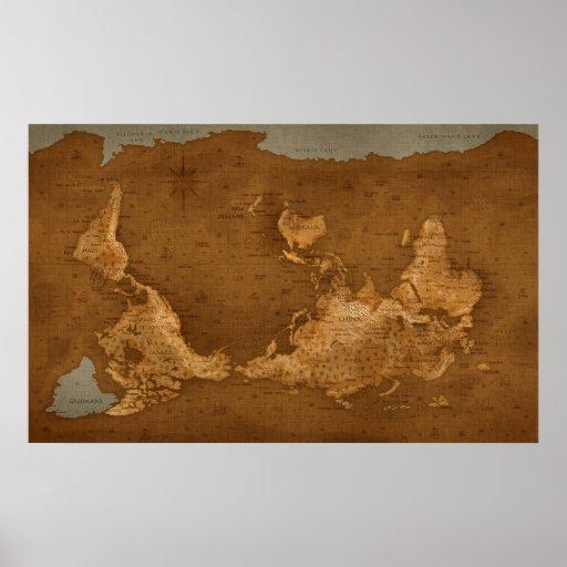 Carte du monde - upside-down affiches
