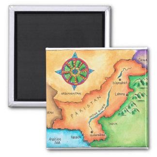 Carte du Pakistan Magnet Carré