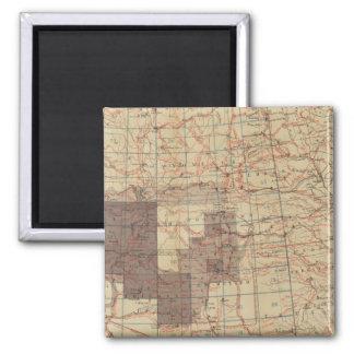 Carte du progrès 1876 des enquêtes géographiques d magnet carré