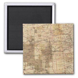 Carte du progrès 1878 des enquêtes géographiques 2 magnet carré