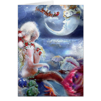 Carte du réveillon de Noël d'une sirène
